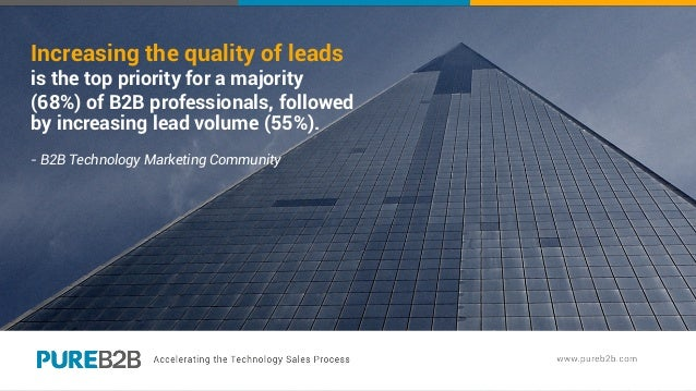 Increasing the quality of leads is the top priority for a majority (68%) of B2B professionals, followed by increasing lead...