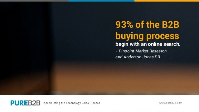 93% of the B2B buying process begin with an online search. - Pinpoint Market Research and Anderson Jones PR