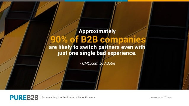 Approximately 90% of B2B companies are likely to switch partners even with just one single bad experience. - CMO.com by Ad...