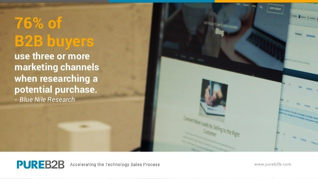 76% of B2B buyers use three or more marketing channels when researching a potential purchase. - Blue Nile Research