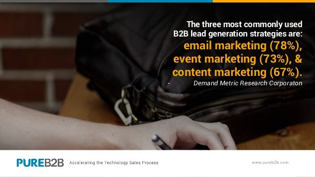 The three most commonly used B2B lead generation strategies are: email marketing (78%), event marketing (73%), & content m...