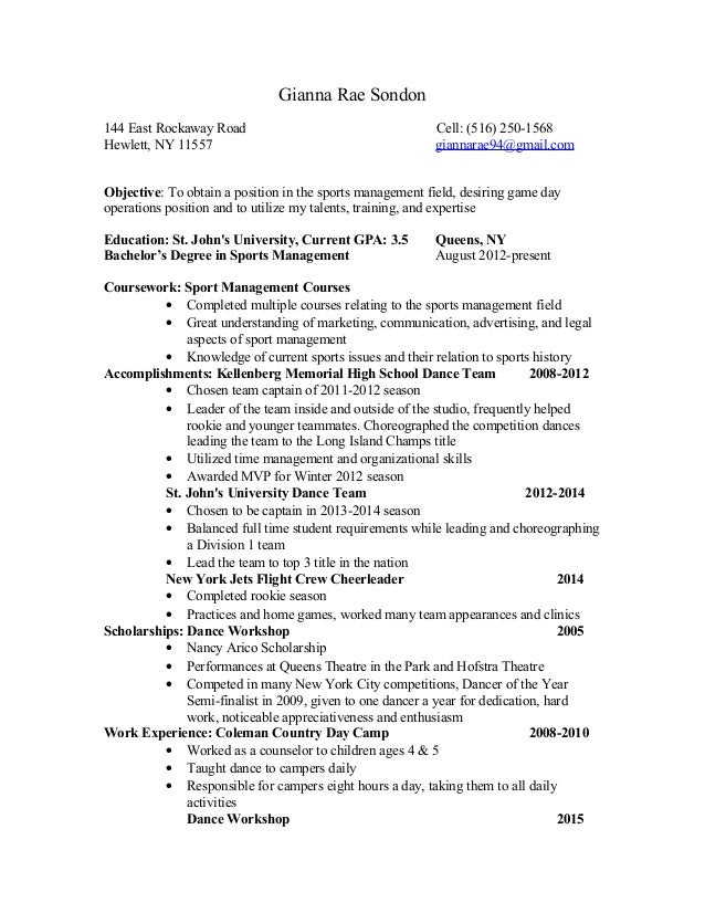 gianna sondon resume