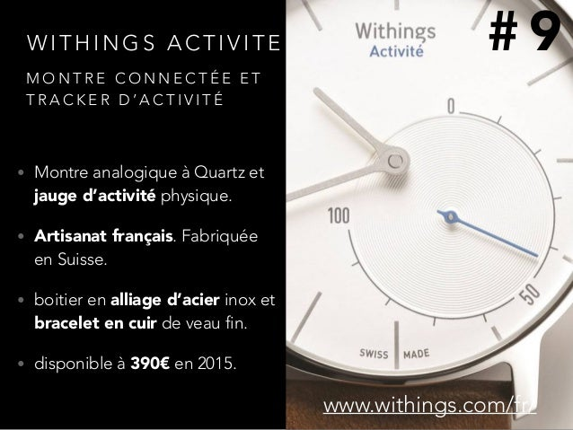 W I T H I N G S A C T I V I T E • Montre analogique à Quartz et jauge d'activité physique. • Artisanat français. Fabriquée...