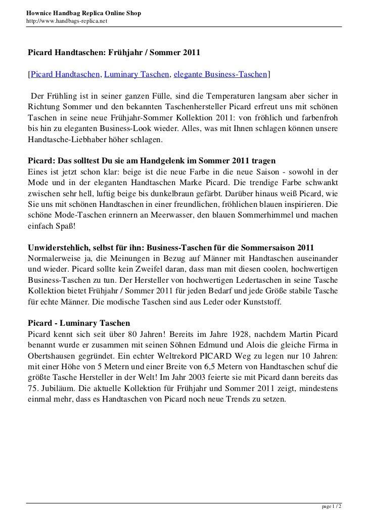 Hownice Handbag Replica Online Shophttp://www.handbags-replica.netPicard Handtaschen: Frühjahr / Sommer 2011[Picard Handta...