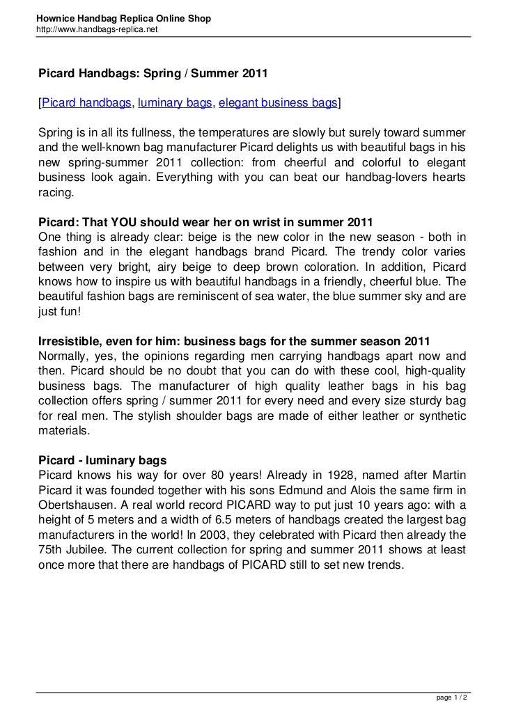 Hownice Handbag Replica Online Shophttp://www.handbags-replica.netPicard Handbags: Spring / Summer 2011[Picard handbags, l...