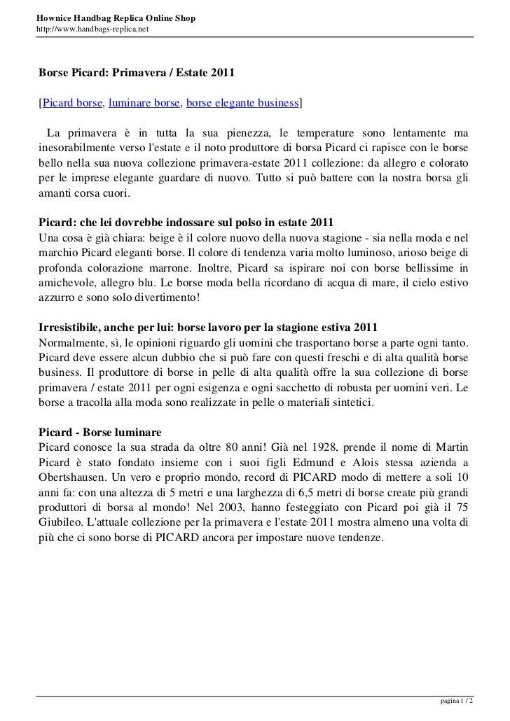 Hownice Handbag Replica Online Shophttp://www.handbags-replica.netBorse Picard: Primavera / Estate 2011[Picard borse, lumi...