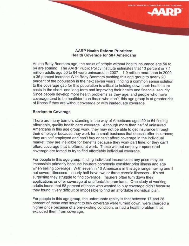 50-plus Coverage Health Reform Priorities Halth Coveragefor50plus Americans