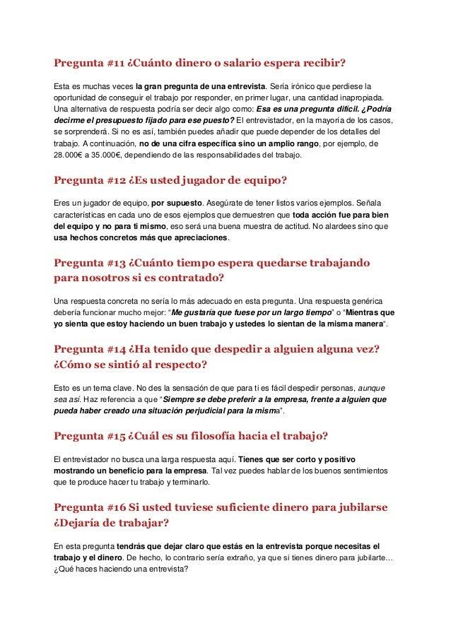 Entrevista De Trabajo Preguntas Y Respuestas Ejemplos Pdf Coleccion De Ejemplo