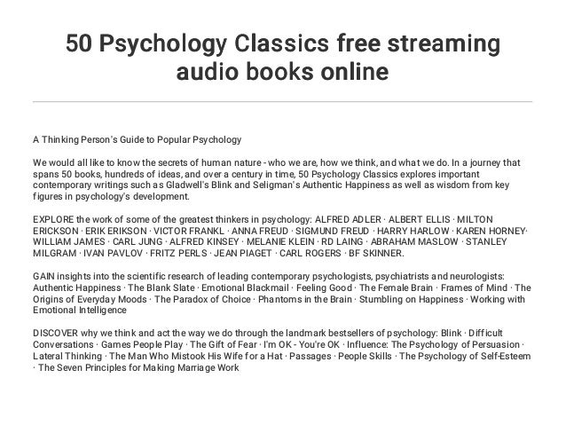 50 Psychology Classics free streaming audio books online