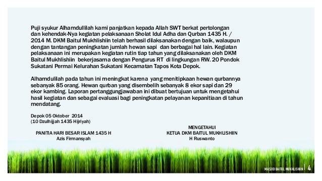 Laporan Pertanggung Jawaban Panitia Qurban 1432 H