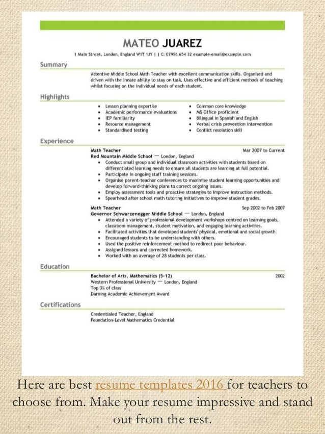 resume templates 2016 29 here are best - Best Resume Template 2016