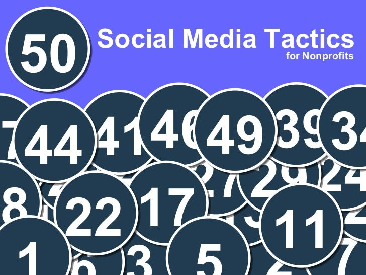 Presenter  Social Media Tactics 22 for Nonprofits 50 2 3 6 7 13 19 21 24 27 26 29 31 41 46 39 34 49 37 44 17 22 11 5 18 1