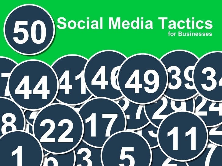 Presenter  Social Media Tactics 22 for Businesses 50 2 3 6 7 13 19 21 24 27 26 29 31 41 46 39 34 49 37 44 17 22 11 5 18 1