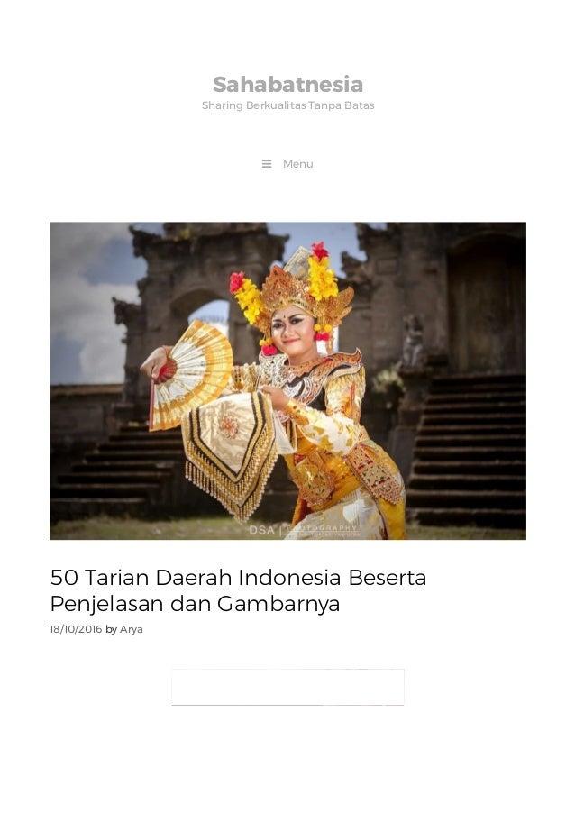 50 Tarian Daerah Tradisional Nusantara Beserta Daerah Asalnya