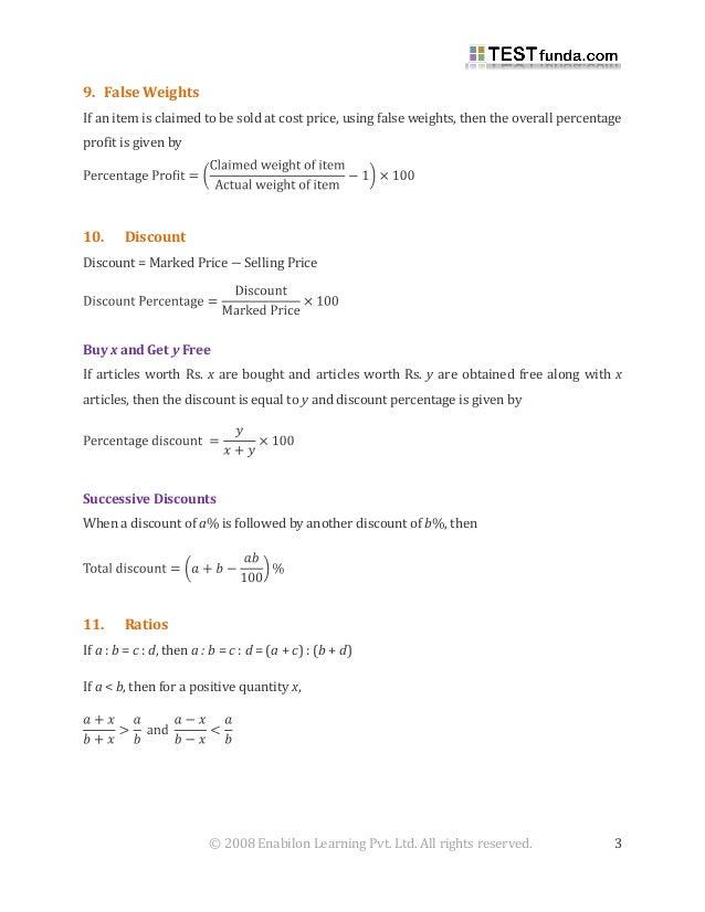 Formulas pdf aptitude quantitative