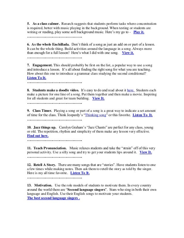 50 ways to use music in the English language classroom