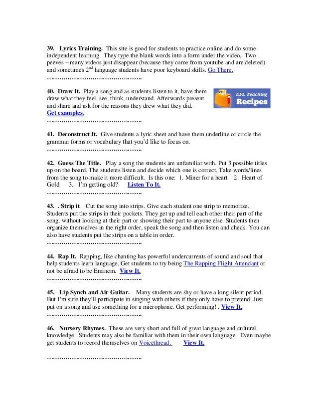 Lyric rap song finder by lyrics : 50 ways to use music in the English language classroom