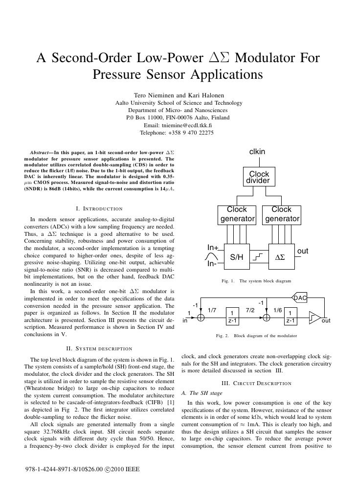 A Second-Order Low-Power ΔΣ Modulator For             Pressure Sensor Applications                                        ...