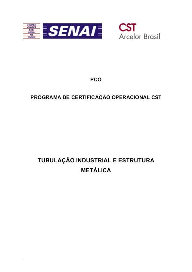PCOPROGRAMA DE CERTIFICAÇÃO OPERACIONAL CSTTUBULAÇÃO INDUSTRIAL E ESTRUTURAMETÁLICA