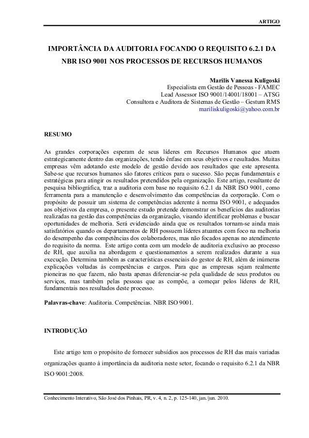 ARTIGO  IMPORTÂNCIA DA AUDITORIA FOCANDO O REQUISITO 6.2.1 DA NBR ISO 9001 NOS PROCESSOS DE RECURSOS HUMANOS Marilis Vanes...