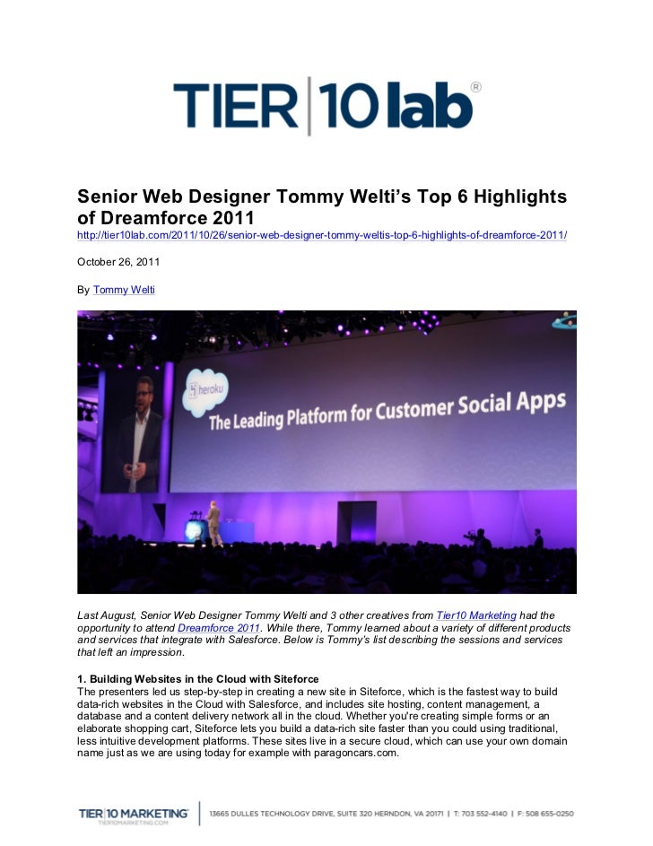 Senior Web Designer Tommy Welti's Top 6 Highlightsof Dreamforce ...