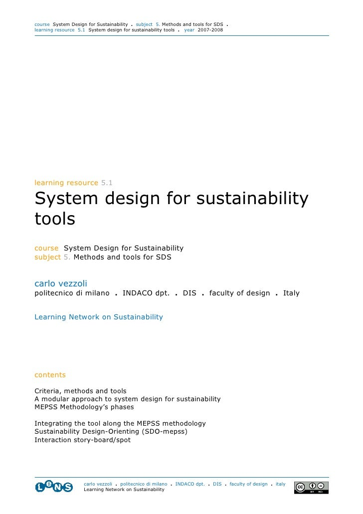 course System Design for Sustainability . subject 5. Methods and tools for SDS . learning resource 5.1 System design for s...