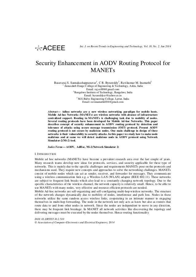 Int. J. on Recent Trends in Engineering and Technology, Vol. 10, No. 2, Jan 2014  Security Enhancement in AODV Routing Pro...