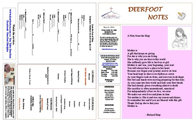 DEERFOOTDEERFOOTDEERFOOTDEERFOOT NOTESNOTESNOTESNOTES May 10, 2020 WELCOME TO THE DEERFOOT CONGREGATION We want to extend ...
