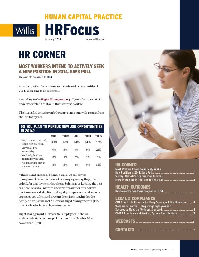 HUMAN CAPITAL PRACTICE  HRFocus January 2014  www.willis.com  HR CORNER MOST WORKERS INTEND TO ACTIVELY SEEK A NEW POSITIO...