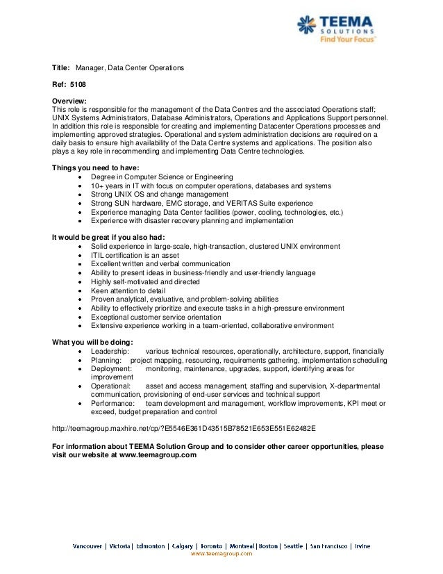 5108 - Manager, Datacenter Operations