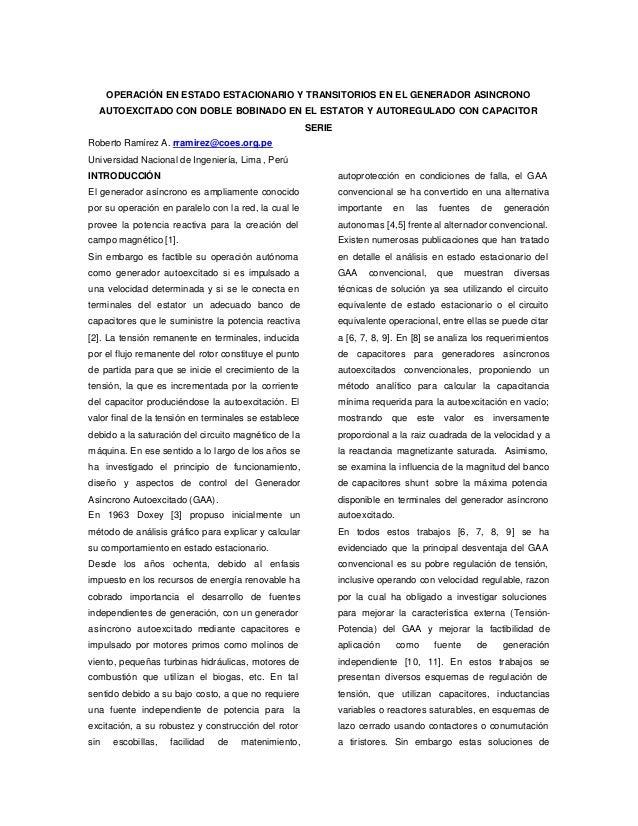 OPERACIÓN EN ESTADO ESTACIONARIO Y TRANSITORIOS EN EL GENERADOR ASINCRONO AUTOEXCITADO CON DOBLE BOBINADO EN EL ESTATOR Y ...