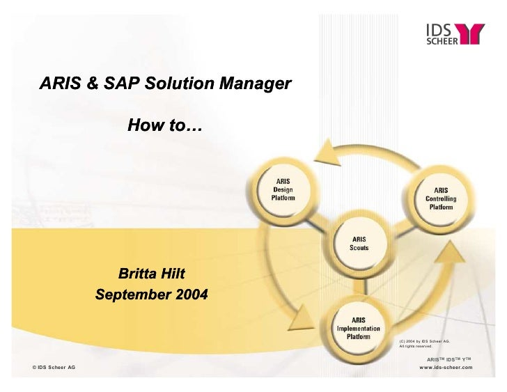 ARIS & SAP Solution Manager                      How to«                     Britta Hilt                  September 2004  ...