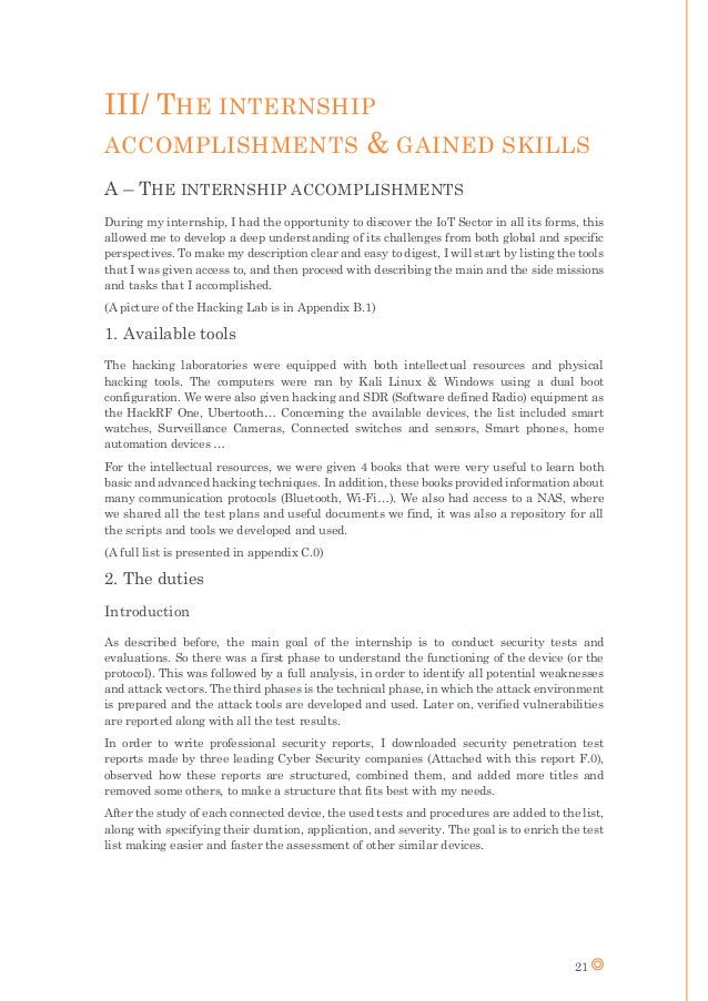 21 III/ THE INTERNSHIP ACCOMPLISHMENTS & GAINED SKILLS A – THE INTERNSHIP ACCOMPLISHMENTS During my internship, I had the ...