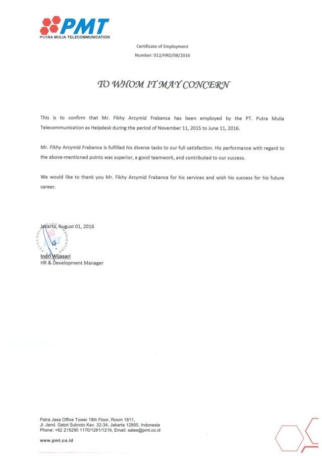 Surat Referensi Kerja Pt Putra Muliatelecommunication
