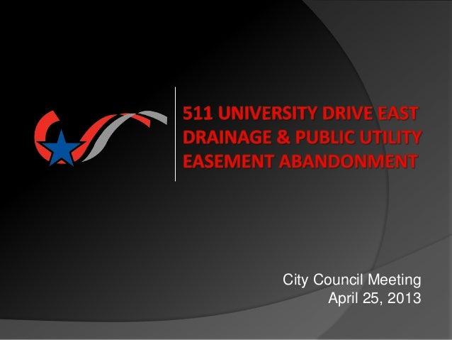 City Council Meeting April 25, 2013