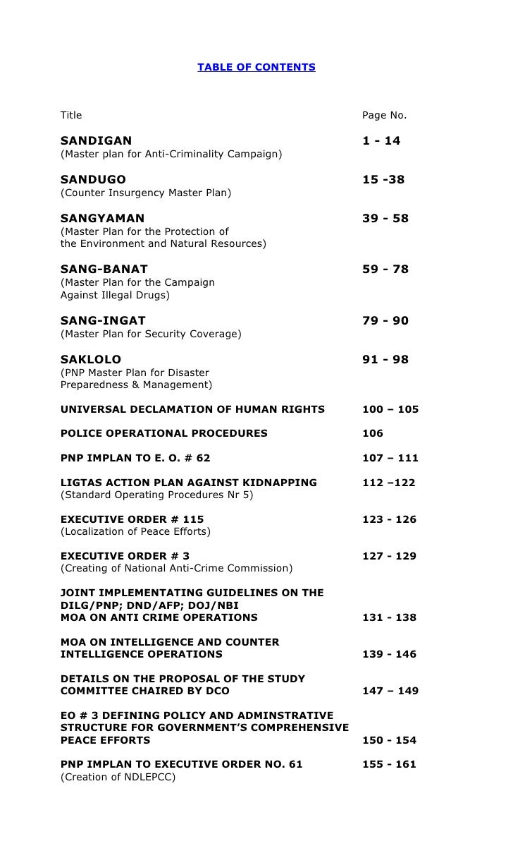 TABLE OF CONTENTSTitle                                           Page No.SANDIGAN                                        1...