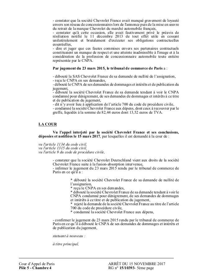 Dlibr Cour DAppel De Paris Sur Le Procs Chevrolet