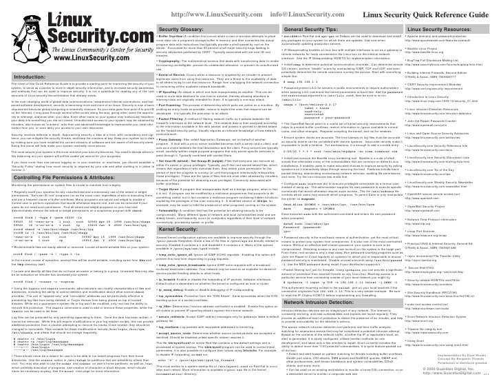 Linux Security Quick Reference Guide
