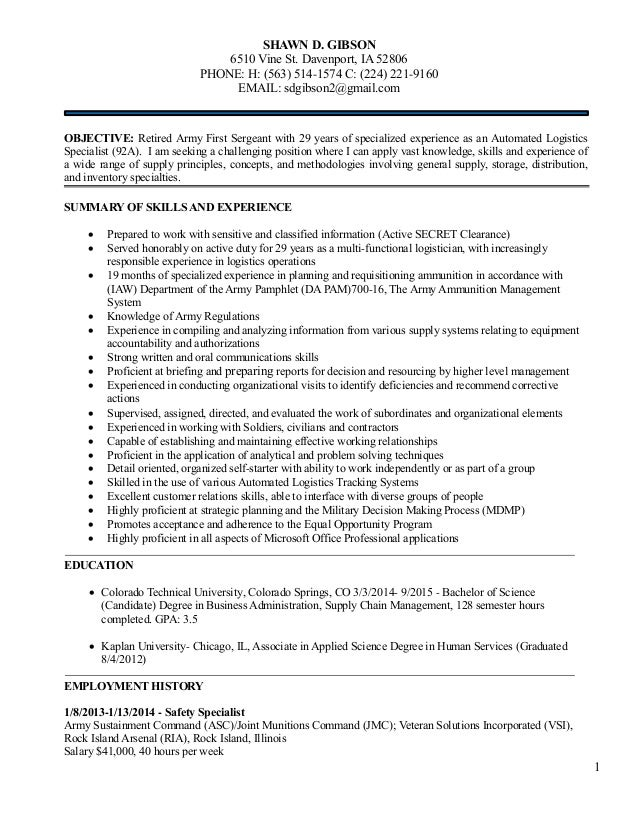 Logistics Management Resume For Shawn Gibson 5 December 2014 1