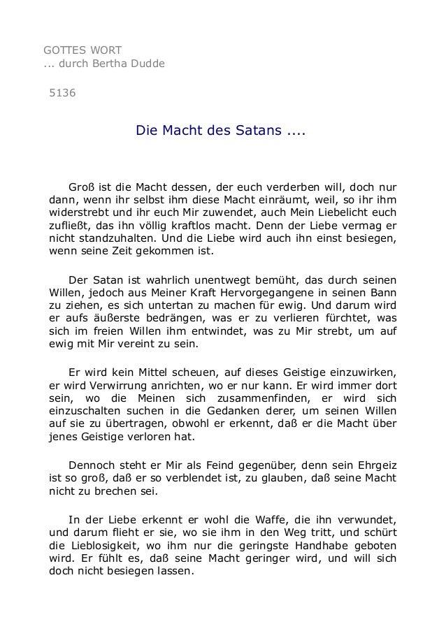 GOTTES WORT ... durch Bertha Dudde 5136 Die Macht des Satans .... Groß ist die Macht dessen, der euch verderben will, doch...