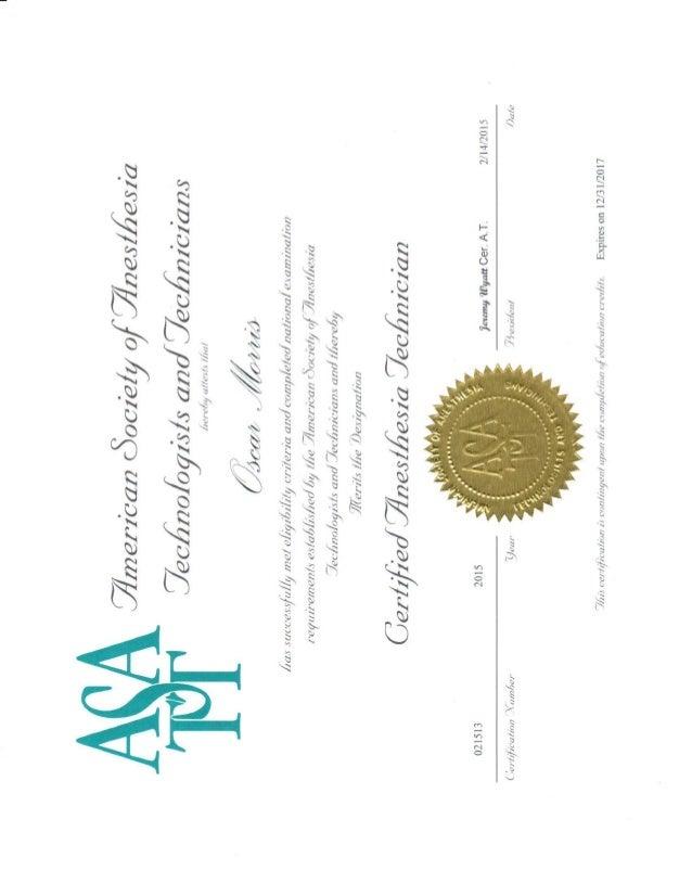 ASATT Certification December 2017