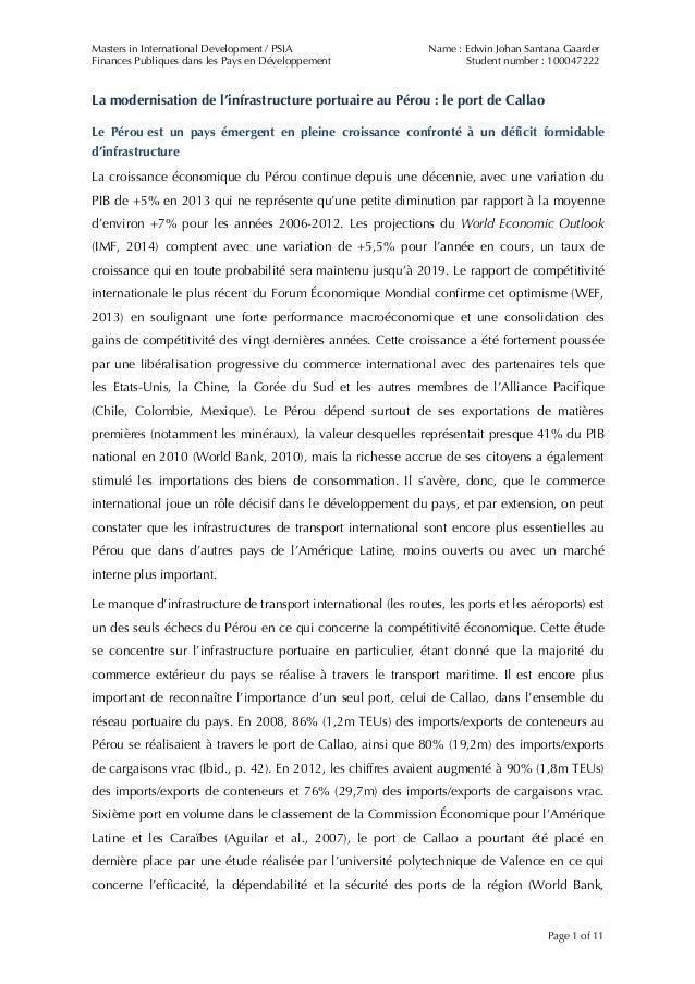Masters in International Development / PSIA Finances Publiques dans les Pays en Développement Name : Edwin Johan Santana G...
