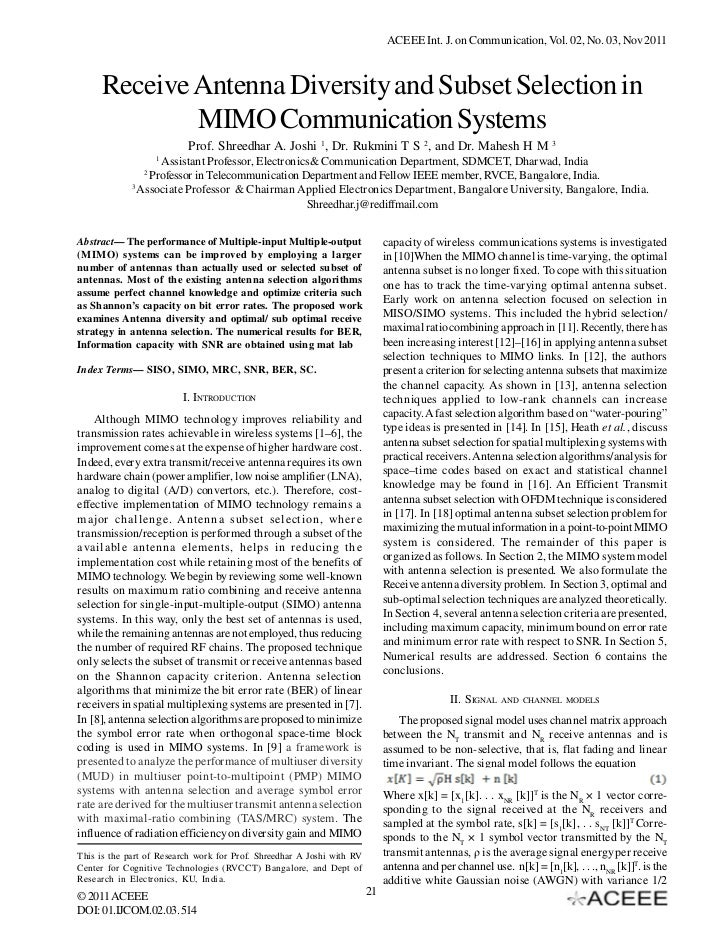 ACEEE Int. J. on Communication, Vol. 02, No. 03, Nov 2011     Receive Antenna Diversity and Subset Selection in           ...