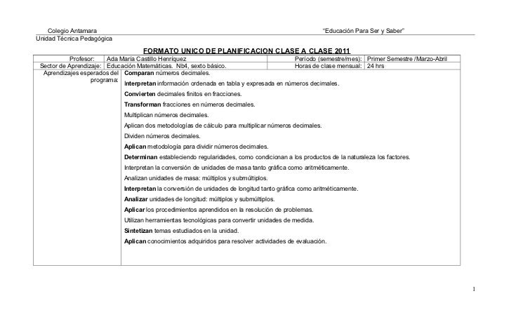 51430893 planificacion-diaria-matematicas-sexto-basico