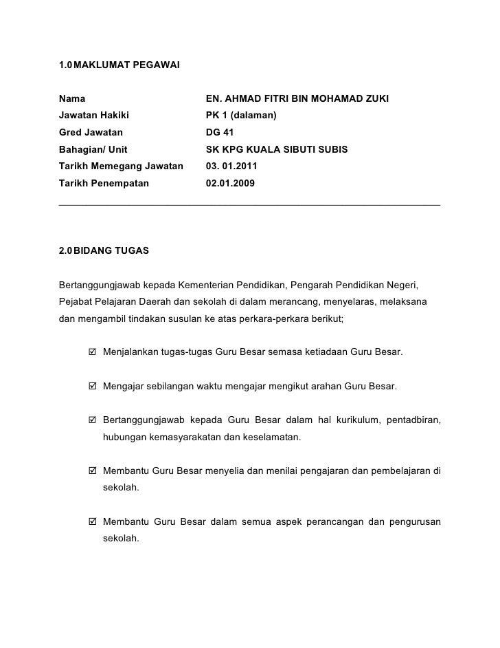 1.0 MAKLUMAT PEGAWAINama                            EN. AHMAD FITRI BIN MOHAMAD ZUKIJawatan Hakiki                  PK 1 (...