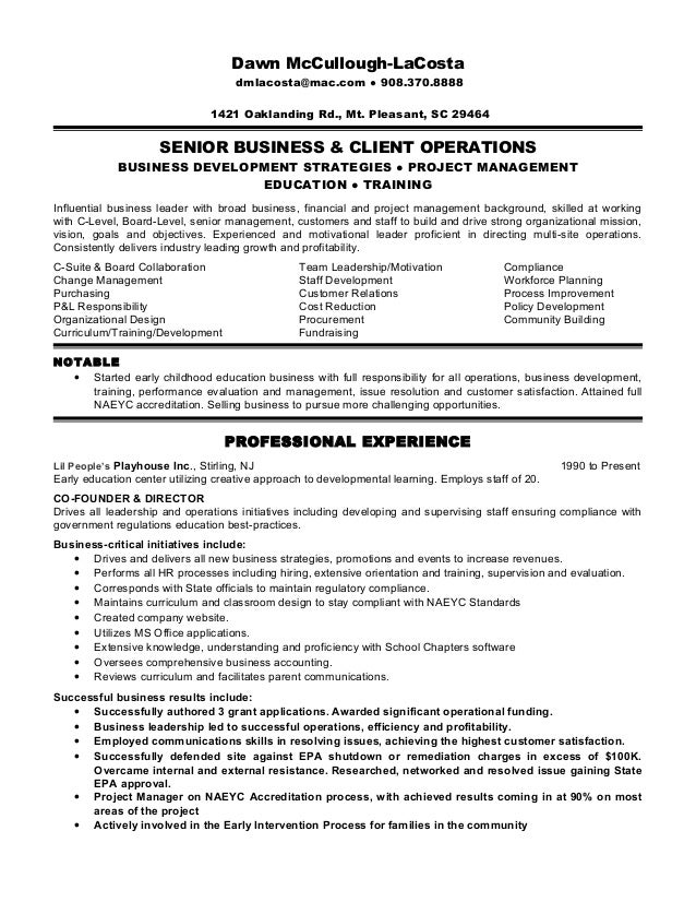 lacosta resume business and operations executive