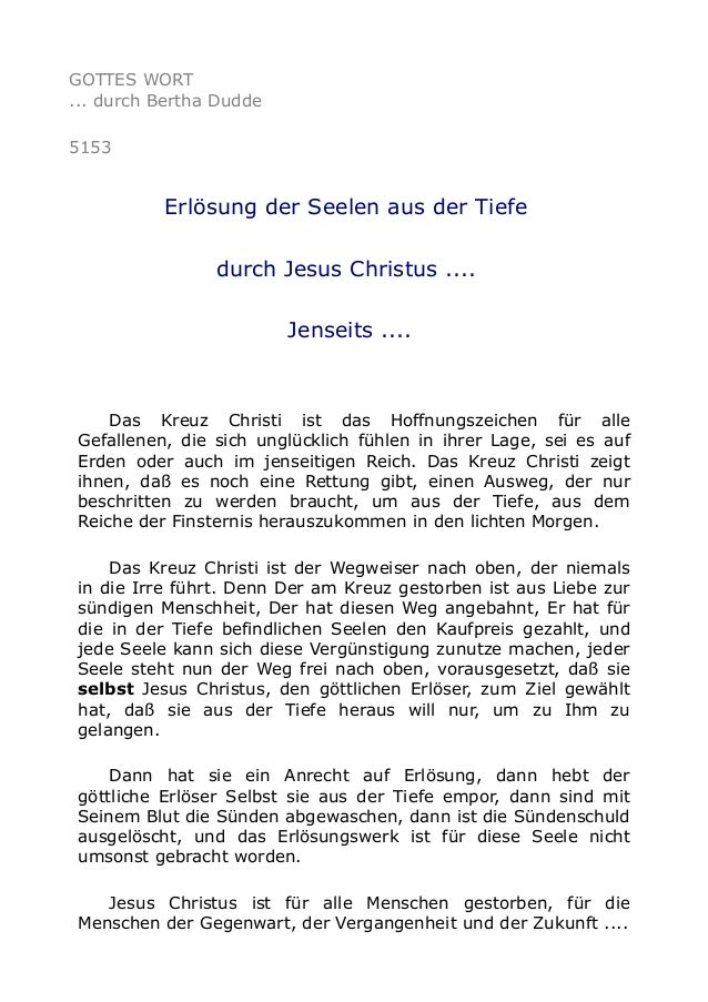 GOTTES WORT ... durch Bertha Dudde 5153 Erlösung der Seelen aus der Tiefe durch Jesus Christus .... Jenseits .... Das Kreu...