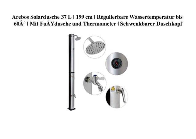 Arebos Solardusche 37 L | 199 cm | Regulierbare Wassertemperatur bis 60° | Mit Fußdusche und Thermometer | Schwenkbarer ...