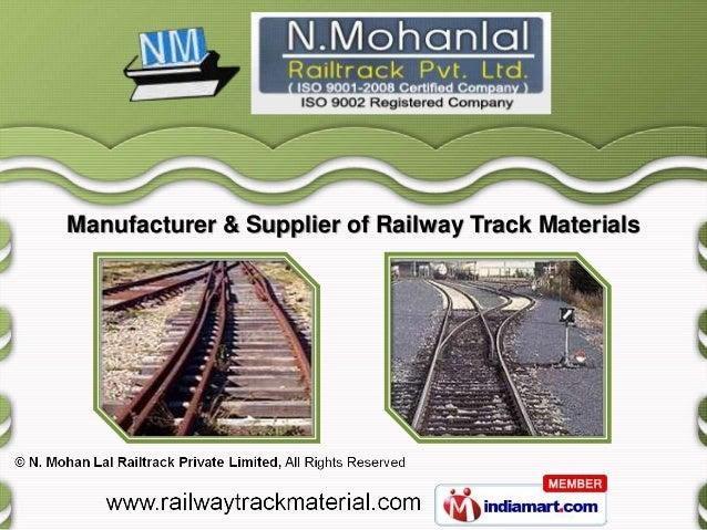 Manufacturer & Supplier of Railway Track Materials