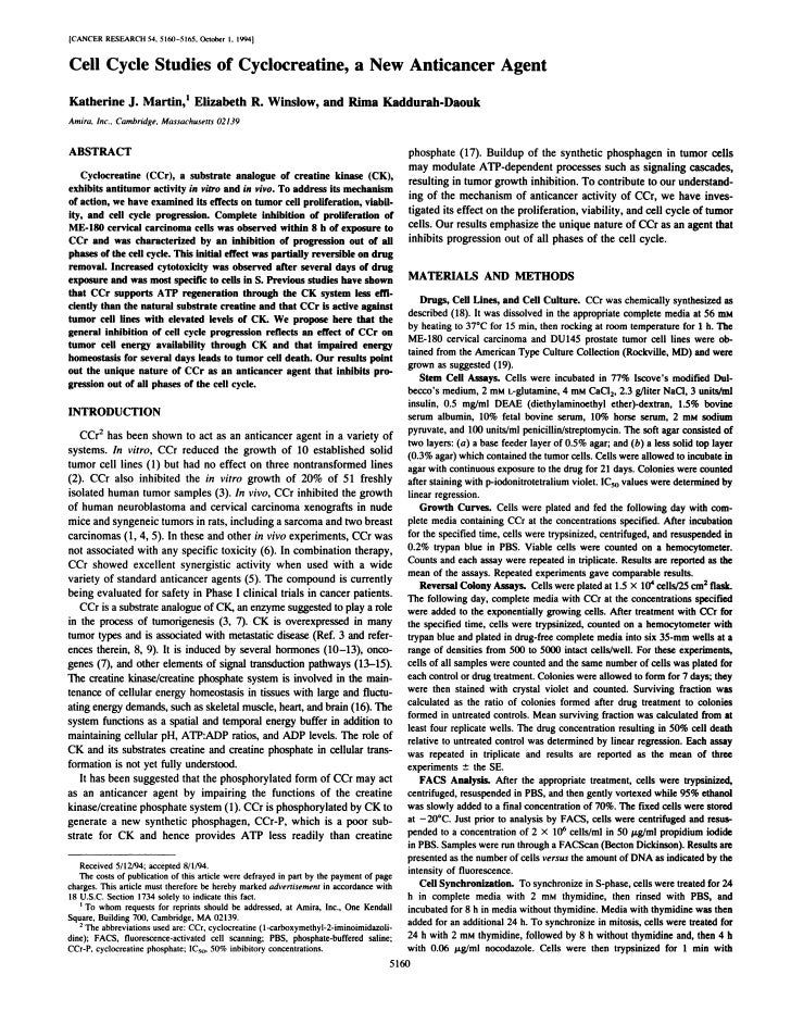 ICANCER RESEARCH54. 5160-5165. October 1. 1994@       Cell Cycle Studies of Cyclocreatine, a New Anticancer Agent     Kath...